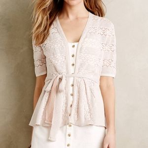 Knitted & Knotted White Lace Stitch Wrap Cardigan